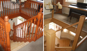 Glass staircase before and after