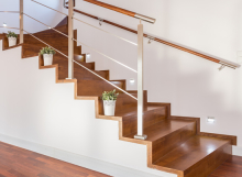 Luxury staircase with wooden-steps