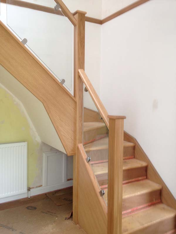American White Oak Handrails with Glass Panels Stirling