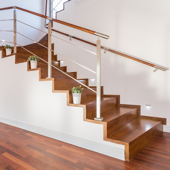 Luxury staircase with wooden steps