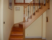 American white oak and wrought iron spindles staircase