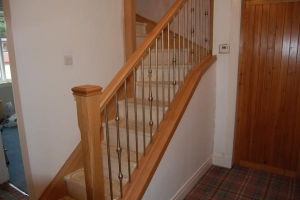 American white oak with stainless steel staircase