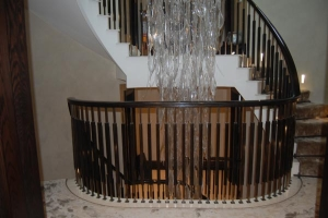 Horizontal curved landing handrail- Mayfair, London